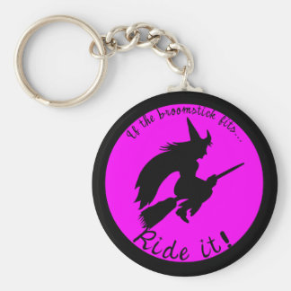 Halloween Witch on Broom Funny Key Fob Keychain