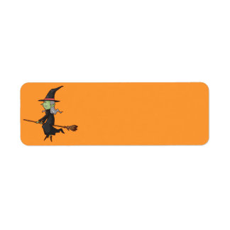 Halloween Witch on Broom Return Address Label