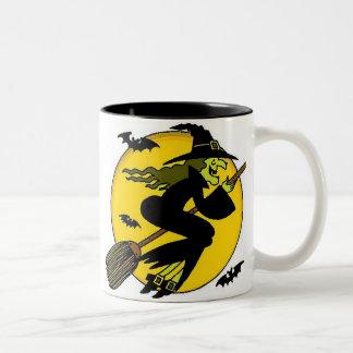 Halloween Witch On Broomstick Two-Tone Coffee Mug