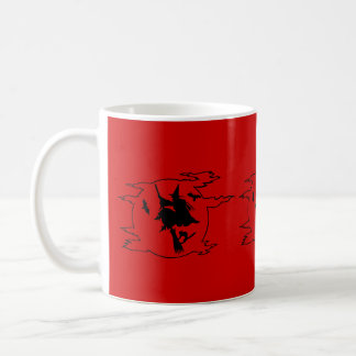 Halloween witch on broomstick with cat and bat classic white coffee mug
