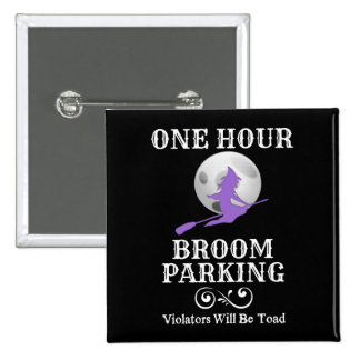 Halloween Witch One Hour Broom Parking 15 Cm Square Badge