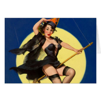 Halloween Witch Pin Up Girl Greeting Card