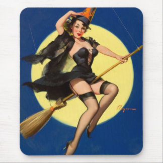 Halloween Witch Pin Up Girl Mouse Mat