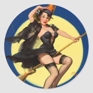 Halloween Witch Pin Up Girl Round Sticker