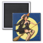 Halloween Witch Pin Up Girl Square Magnet