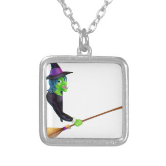 Halloween Witch Pointing with Broom Jewelry