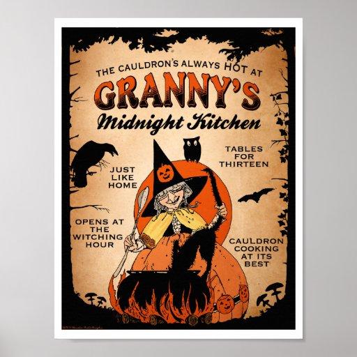 Halloween Witch Poster Granny's Midnight Kitchen