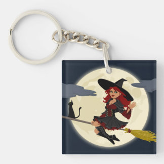 Halloween Witch Square Acrylic Keychains
