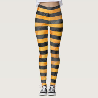 Halloween Witch Stripe Orange|Black Pattern Leggings
