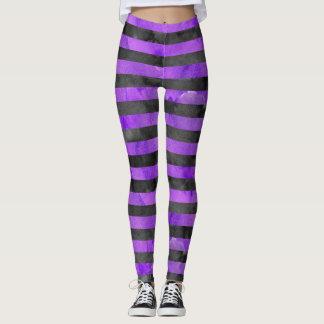 Halloween Witch Stripe Purple|Black Pattern Leggings