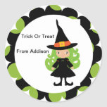 Halloween Witch Treat Bag Sticker Personalised