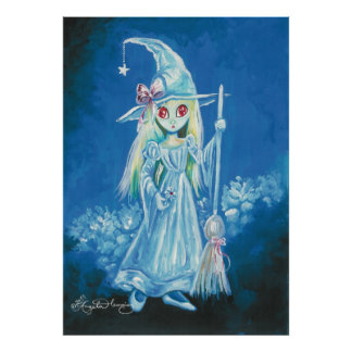 Halloween Witch With Big Red Eyes Poster