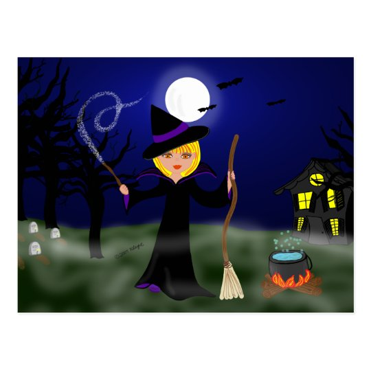 Halloween Witch with Cauldron Postcard