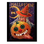 Halloween Witch with Funny Pumpkin Postcards