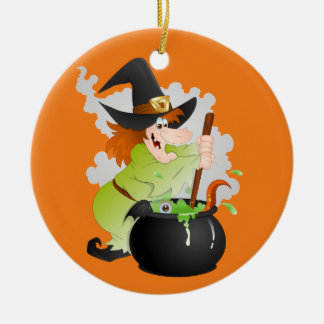 Halloween Witch with pot Christmas Ornament