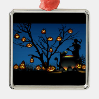 Halloween Witch with Pumpkins background Christmas Ornament