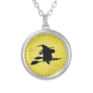 Halloween Witch; yellow Round Pendant Necklace