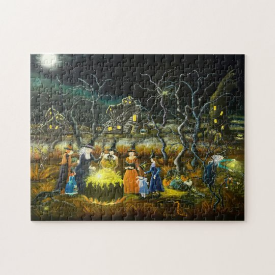 Halloween witches around a cauldron jigsaw puzzle