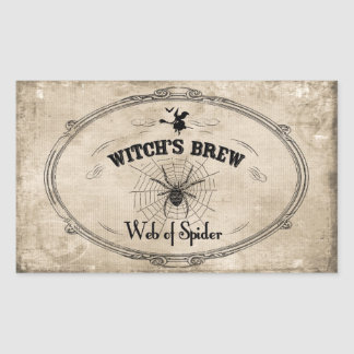 Halloween Witches Brew Ingredient - Web of Spider Rectangular Sticker