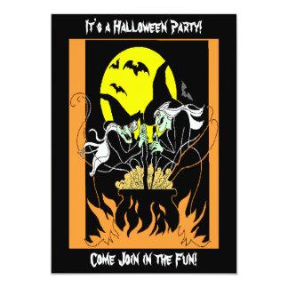 Halloween Witches Cauldron 13 Cm X 18 Cm Invitation Card
