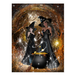 Halloween Witches in Black Postcard