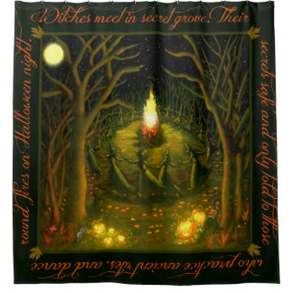 Halloween witches shower curtain