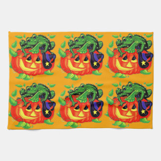 Halloween Witches Toad Tea Towel