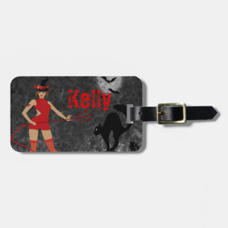 Halloween Witchy Devil Girl Tag For Bags
