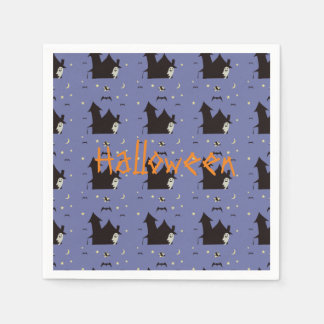 Halloween with ghosts witches and bats paper napkins