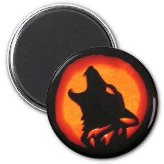 Halloween Wolf Howling 6 Cm Round Magnet