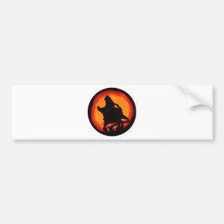 Halloween Wolf Howling Bumper Sticker