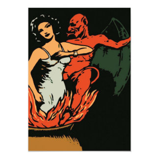 Halloween Woman and Evil Devil 13 Cm X 18 Cm Invitation Card