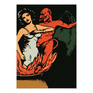 Halloween Woman and Evil Devil 5x7 Paper Invitation Card