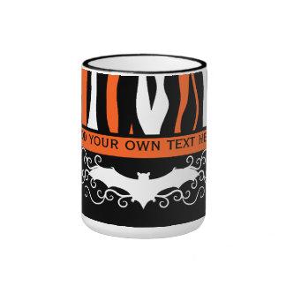 Halloween zebra pattern and bat personalized ringer mug