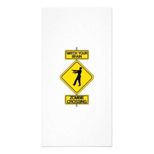 Halloween Zombie Crossing Sign Photo Greeting Card