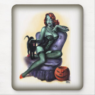 Halloween Zombie Girl Pin Up Mouse Mat
