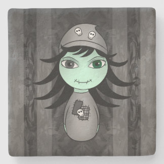 Halloween zombie girl stone coaster