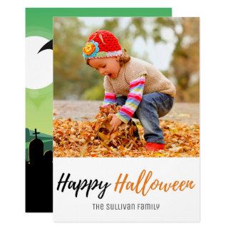 Halloween Zombie Grave Bats Photo Card