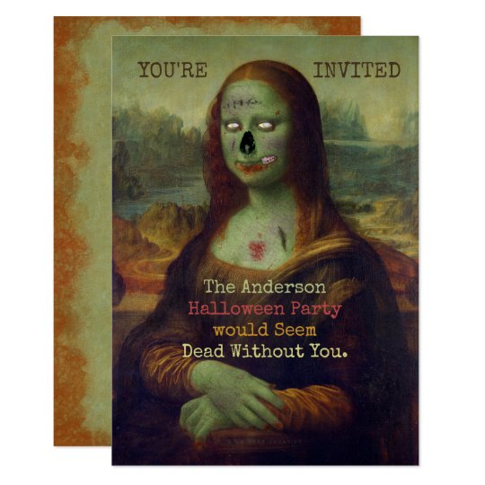 Halloween Zombie Mona Lisa Scary Spooky Party Card