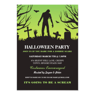 Halloween Zombie Party Spooky Graveyard Invitation