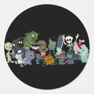 Halloweenies Group Photo Classic Round Sticker