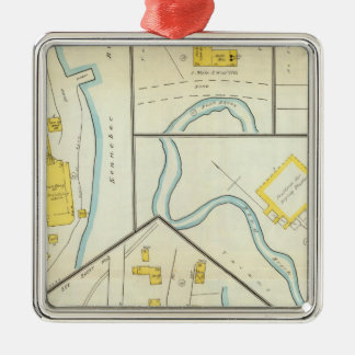 Hallowell, Kennebec County, and Maine 3 Christmas Ornament