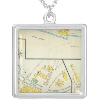 Hallowell, Kennebec County, and Maine 4 Silver Plated Necklace