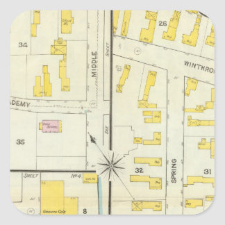 Hallowell, Kennebec County, and Maine Square Sticker