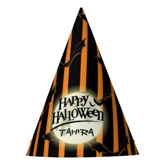 Hallowen Stripes and Bats Party Hat