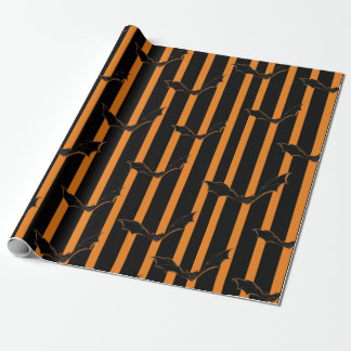 Hallowen Stripes and Bats Wrapping Paper