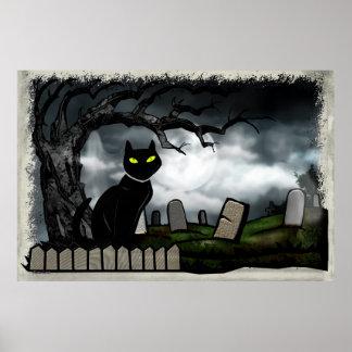 Hallows Graveyard Halloween Folk Art Poster