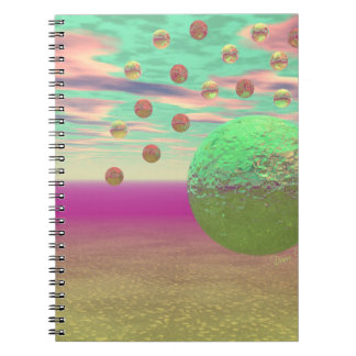 Halo of Moons, Abstract Colorful Cosmos Spiral Note Book