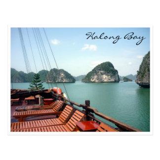 halong bay boat postcard