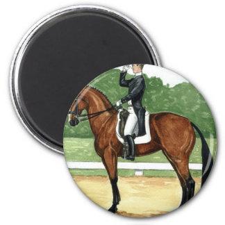Halt, Salute at X Dressage Art Bay Horse 6 Cm Round Magnet